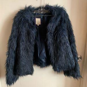 Blue faux fur furry jacket